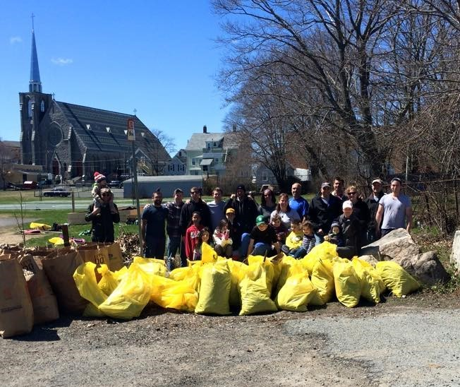 photo of trash cleanup at Burnham's Field