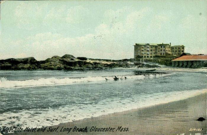 EdgeCliffe Hotel and surf Long Beach Gloucester Mass postcard