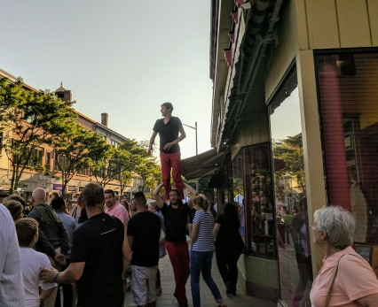 Great fun Red Trousers downtown GloucesterMA block party Sort of Dick Van Dyke vibe