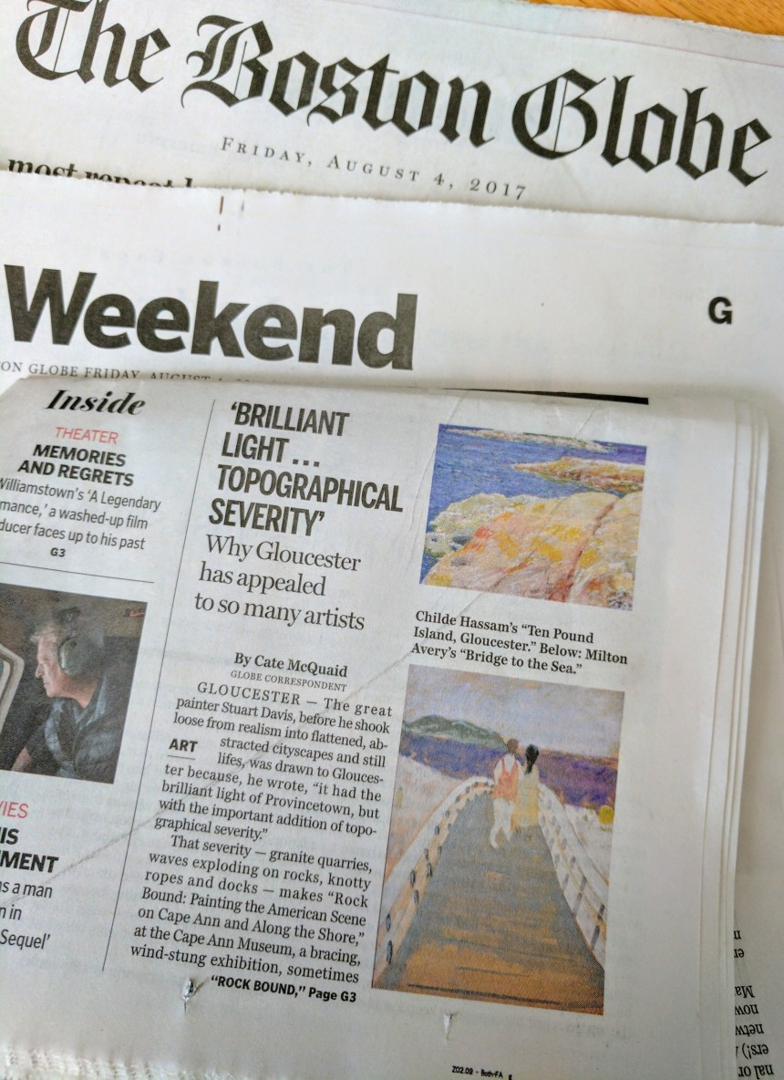 Boston Globe Cate McQuaid review Cape Ann Museum Rock Bound 2017