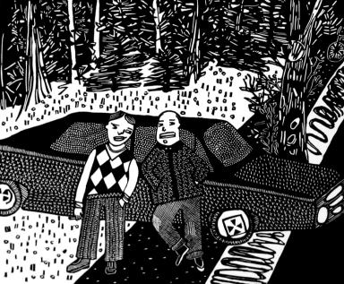 Bad Boys, linoleum print, by Coco Berkman