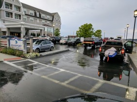 Contestants arrive pre 730AM Beauport Hotel to check in for Cape Ann SUPahBowl 2017 Pavilion Beach Gloucester MA rainy start gave way to nice day