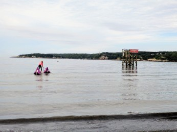 Anneliese moving course buoys into place