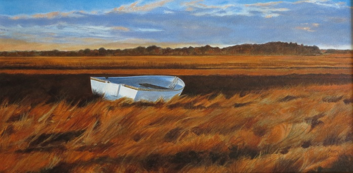 Evening Shadows on the Marsh, Oil, 15 x 30 - by Keith Gantos