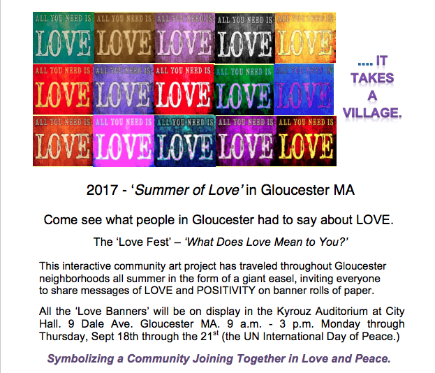 Love Fest Banners on Display at City Hall 9.18 - 9.21.17