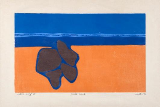 Pebble Beach, 20 x 12, woodcut, 1973