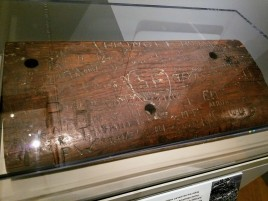AMERICAN AND BRITISH SOLDIERS CARVED NAMES INTO Quee Elizabeth RAILING TESTAMENT TO SHIPS AS TROOPSHIPS DURING WW1 AND WW2 Ocean Liners Installation Peabody Essex Museum © C Ryan 20170