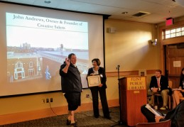 John Andrews Creative Salem receives award from Annie Harris Essex National Heritage
