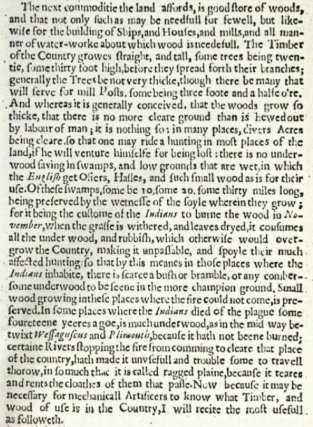 excerpt from William Wood New England's Prospect re -trees landscape burning brush ecology