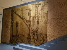GASTON SUISSE 1937 6 PANELS, LACQUER AND BRONZE MUSEE D'ART MODERNE DE LA VILLE, left and right are reproductions, Ocean Liners Installation Peabody Essex Museum © C Ryan 20170908_1137