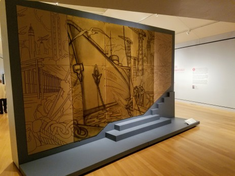 GASTON SUISSE 1937 6 PANELS, LACQUER AND BRONZE MUSEE D'ART MODERNE DE LA VILLE, left and right are reproductions,Ocean Liners Installation Peabody Essex Museum © C Ryan 20170908_11374