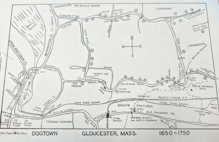 Gloucester 3rd annual 1954 Cape Ann Festival of the Arts - Dogtown map for back cover