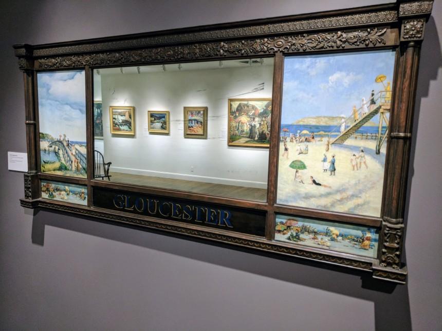 UNATTRIBUTED over mantel view of Good Harbor Beach ca1920 ROCKBOUND installation Cape Ann Museum 170602_110624