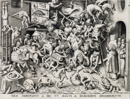 after Pieter Bruegel The Fall of the Magician Hermogenes engraving 1565 by Pieter van der Heyden sold Swann $18750