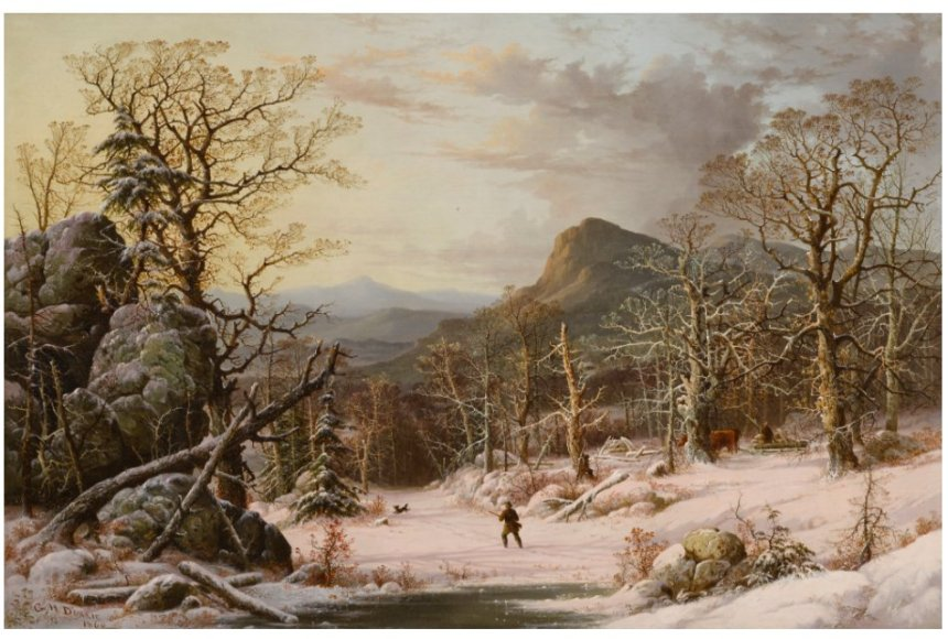 Berkshire Museum George Henry Durrie Hunter in Winter Wood Sothebys lot 11
