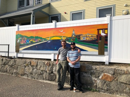 2017 unveiling (David Brooks with Jason Burroughs who repainted the Action Inc mural)