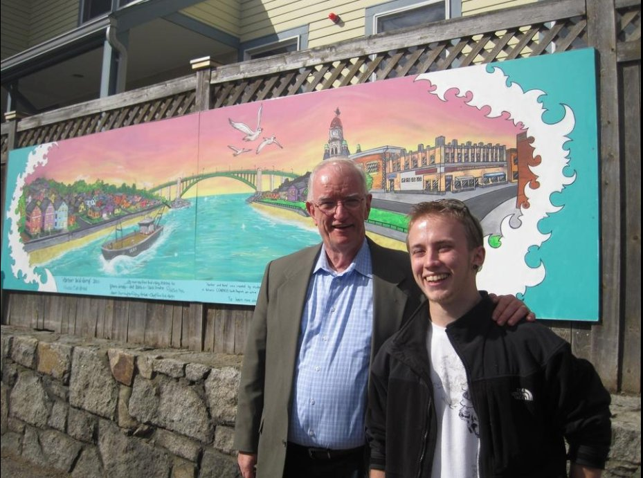 ©Terry Weber photograph,Nov 2010, unveiling mural at Action then Exec Dir Tim Riley on left, artist Cole Herbert right unveiling Harbor and Home mural