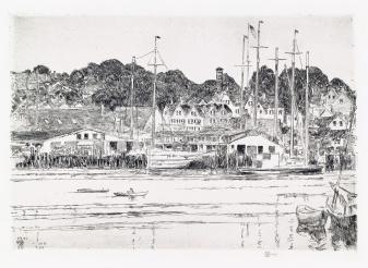 Childe Hassam Inner Harbor Gloucester 1919 etching sold for $3750