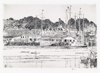 Childe Hassam Inner Harbor Gloucester 1919 etching sold for $3750