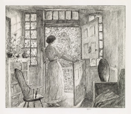 Childe Hassam The Dutch Door (Cos Cob CT) etching 1915 UNSOLD est 15 to $20,000