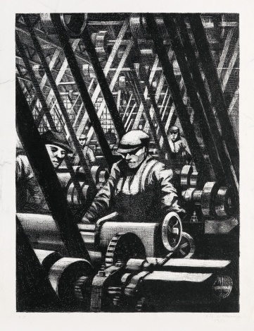 Christopher RW Nevinson 1917 litho making the engine sold for $8125