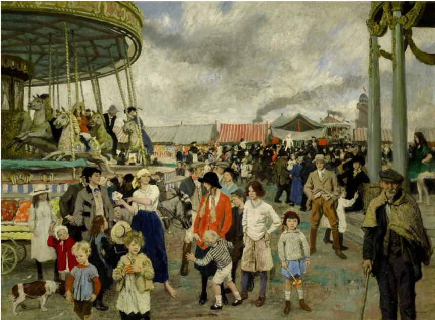 dame laura knight  BRIT 1877-1970 The Fairground Penzance ca 1912 oc 55 x 75 sotheby's last sold in 1983 est 400 to 600000.jpg