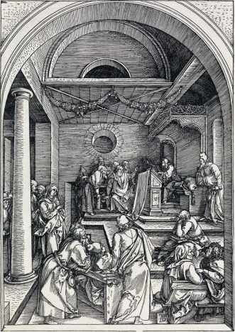 durer Christ Among the Doctors ca 1503 WOODCUT sold $6500 at Swann Galleries