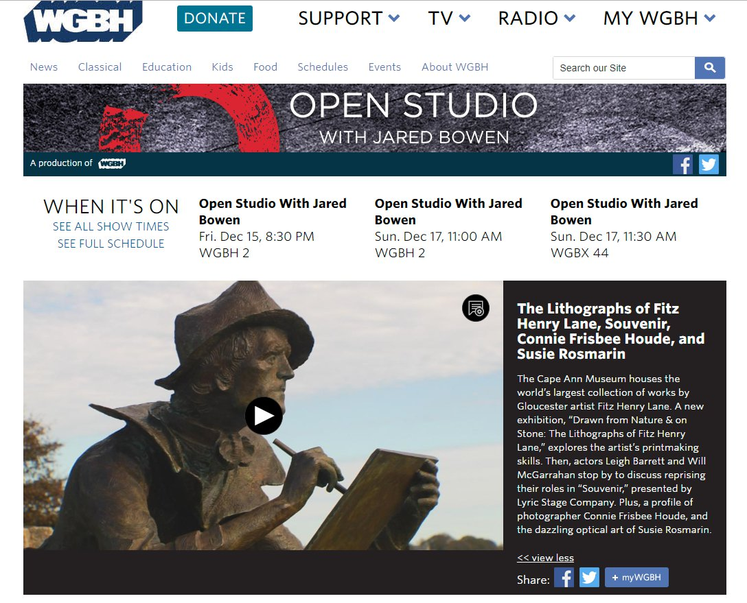 #GloucesterMA Cape Ann Museum Fitz Henry Lane exhibition featured on WGBH Open Studio with Jared Bowen.jpg