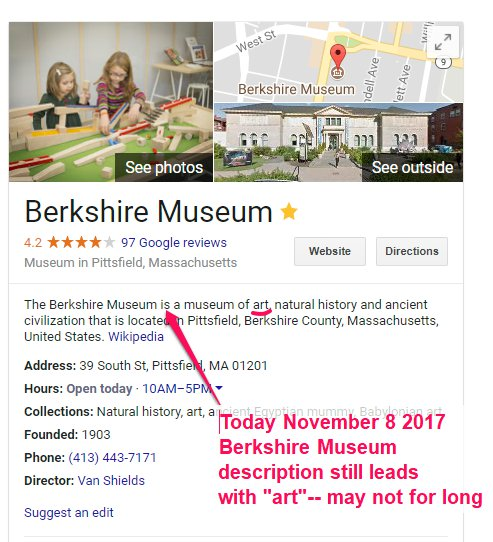 Google search - Berkshire Museum describes itself museum of art FIRST Sotheby's auction would require an edit