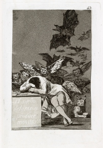Sleep of Reason one print from GOYA 1799 seminal Los Caprichos 80 etchings with aquatint proposed edition of 300 sold 27 thru bookstores and then yanked them for fear sold $106250 Swann Galleries missing 1