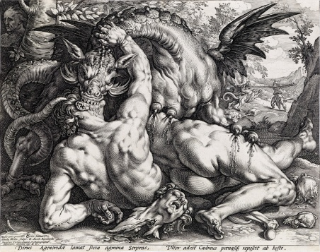 Hendrick Goltzius Dragon Devouring Companions of Cadmus engraving 1588 sold at Swann Galleries 10625
