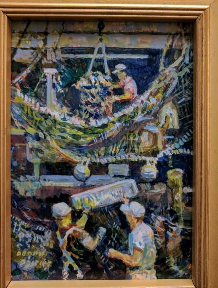 Dennis Poirier, on the Waterfront, acrylic on panel, 7 x 5, Rockport Art Association