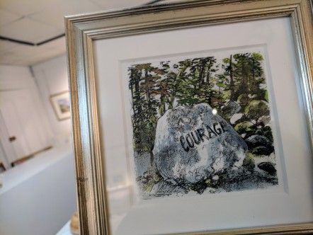 "Deborah Babson Boulders( ""Courage""), etching with hand coloring from an edition of 50, Rockport Art Association"