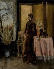 James Prendergast Library Alfred Stevens belgian La Neige oil panel 24 x 20 est 70 to 100000