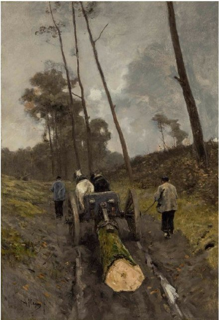 James Prendergast Library Anton Mauve Carting the Log oc on board est 10 to 15000