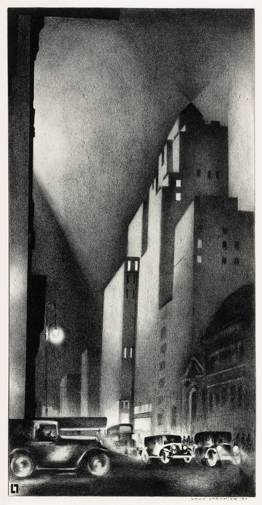 Louis Lozowick 57th Street 1929 lithograph ed 40 sold $10625