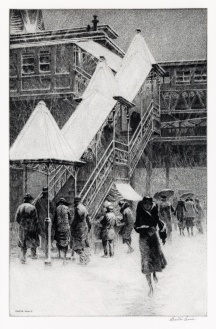 Martin Lewis Snow on the El sold for 37500 swann galleries