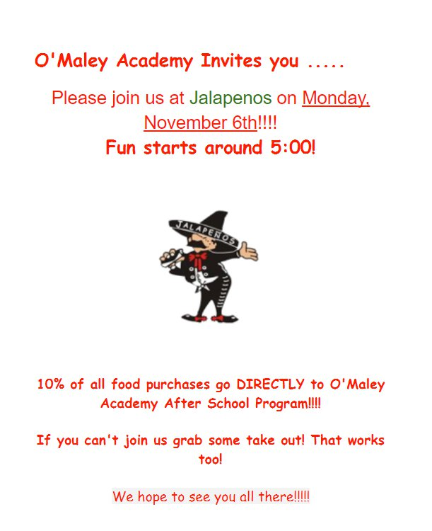 O'Maley Fundraiser Jalapenos Nov 6th 2017