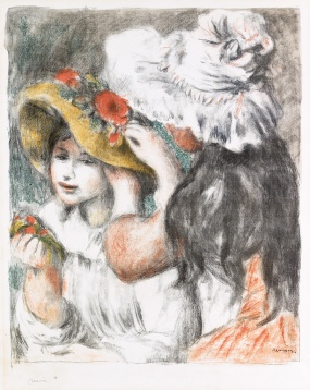 Renoir Le Chapeau Epingle color lithograph 1898 printed by auguste Clot and published by Vollard. Sold at Swann Galleries $35000