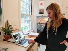 Stephanie Benenson, artist studio, discussin 2017 Harbor Lights