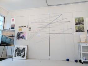 Stephanie Benenson, artist studio, discussing 2017 Harbor Lights 20171122_091306
