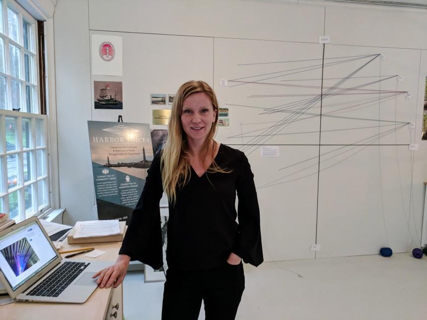 Stephanie Benenson, artist studio, discussing 2017 Harbor Lights 20171122_091510