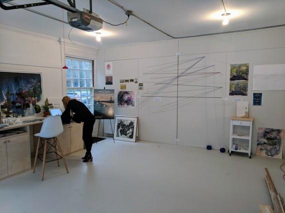 Stephanie Benenson, artist studio, discussing 2017 Harbor Lights_20171122_091255