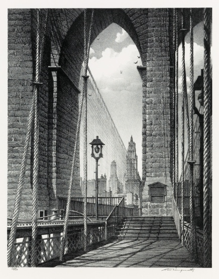 Stow Wengenroth High Arches Brooklyn Bridge 1960 litho ed 50 sold for $16250