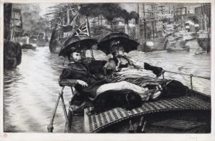 TISSOT La Tamise 1876 drypoint and etching from edition about 100 $3500