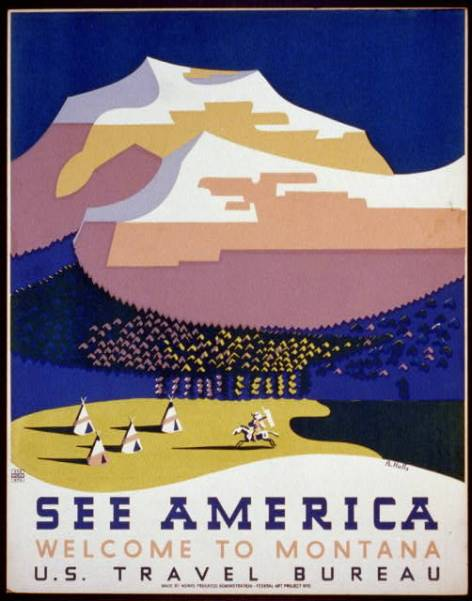 WPA poster See America Welcome to Montana by R Halls about 1938