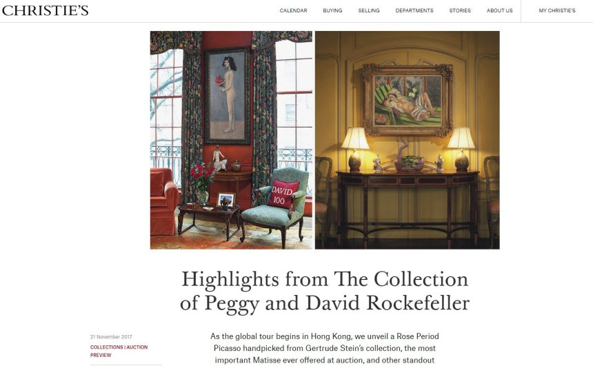 Christies highlight page for Rockefeller does not show the Hopper yet Dec 12 2017