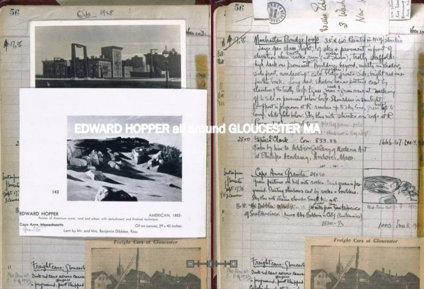 EDWARD HOPPER diary page includes Gloucester entries