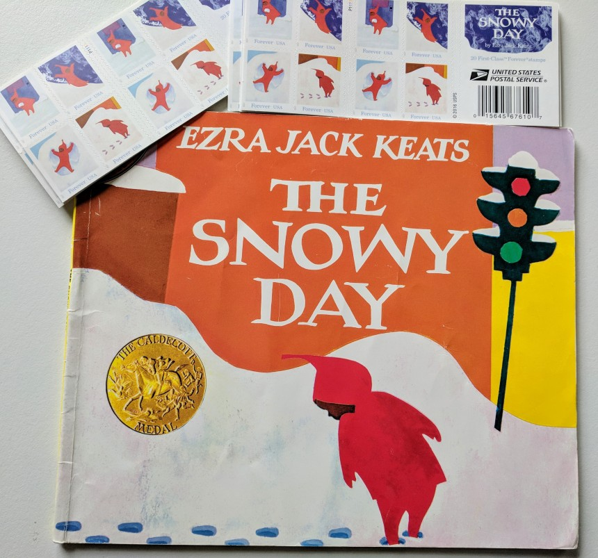 Ezra Jack Keats The Snowy Day US POSTAL STAMP 2017 Gloucester MA Virginia Lee Burton one day.jpg