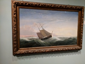 FITZ HENRY LANE PAINTING Coasting Schooner off Boon Island Maine former Sawyer Free Public Librarycollection now installed at Cape Ann Museum © C Ryan IMG_125347